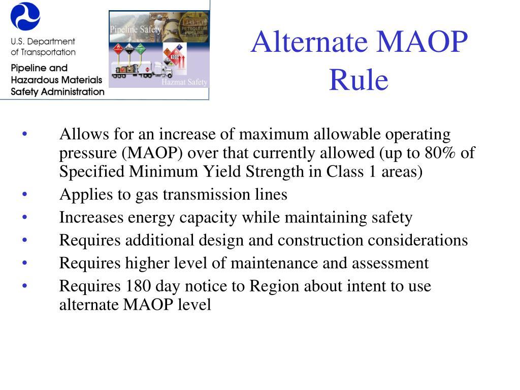 Alternate MAOP Rule