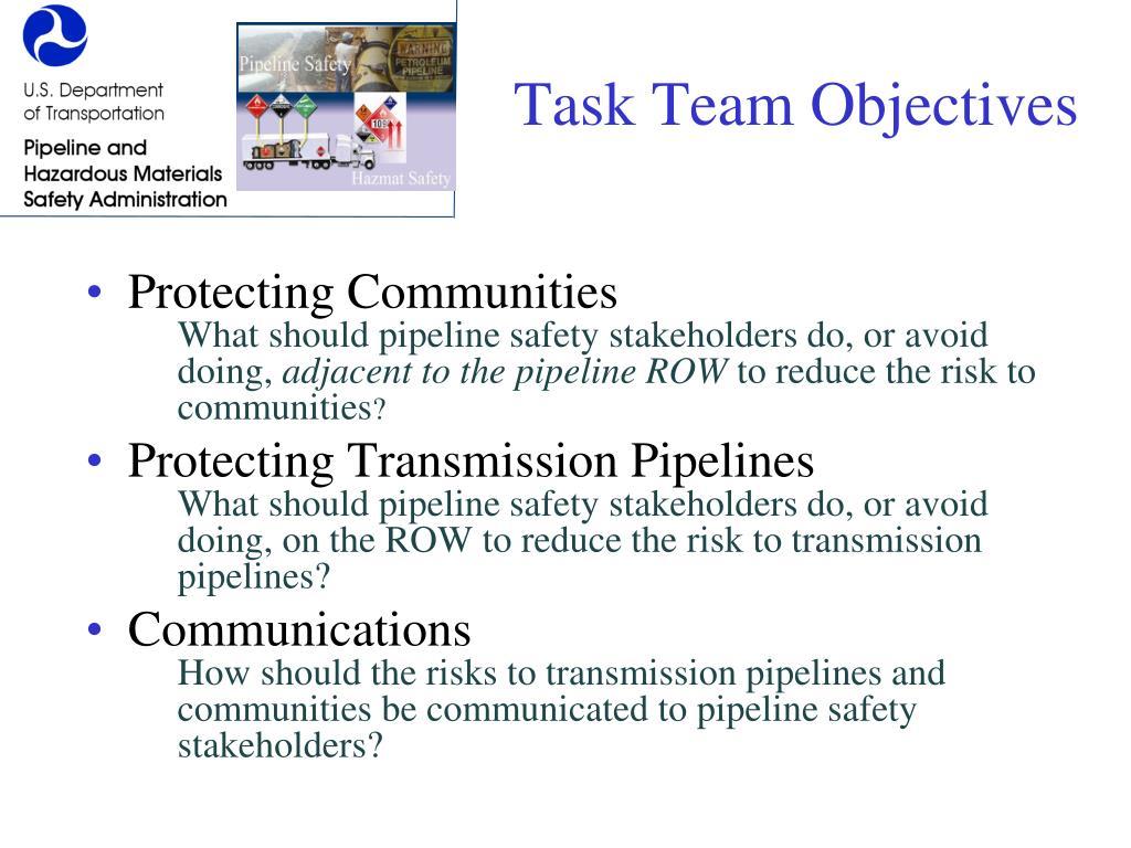 Task Team Objectives