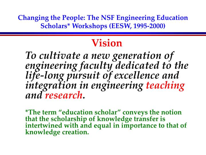 Changing the people the nsf engineering education scholars workshops eesw 1995 2000