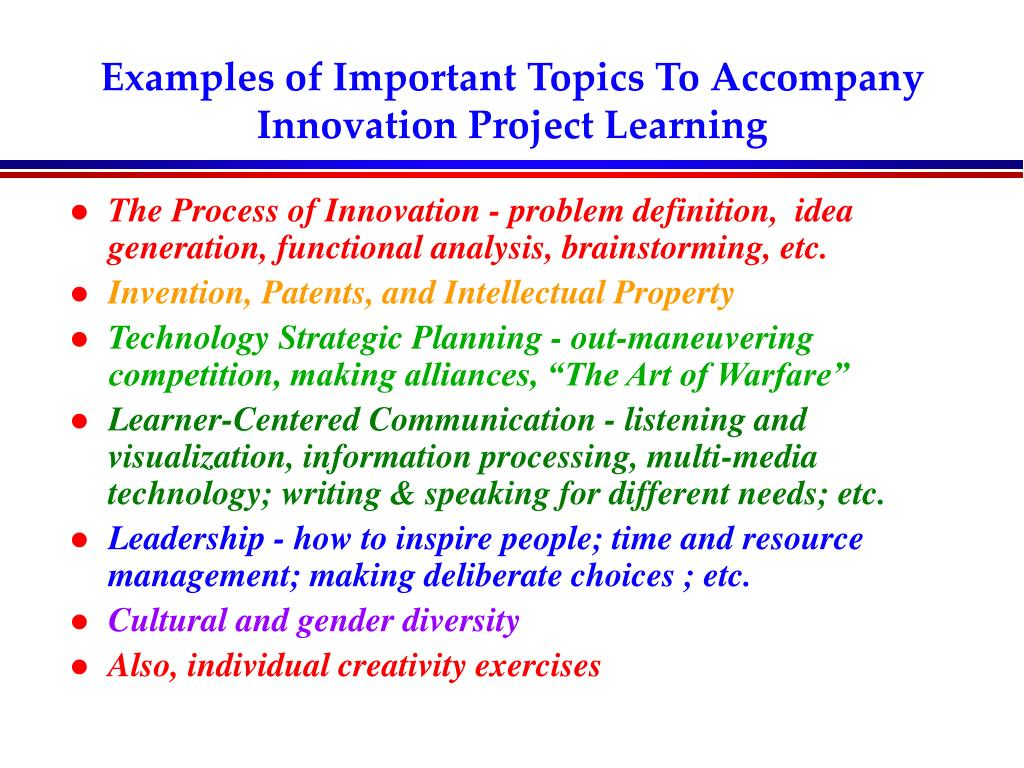 Examples of Important Topics To Accompany Innovation Project Learning