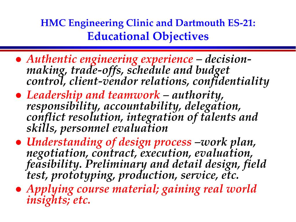 HMC Engineering Clinic and Dartmouth ES-21: