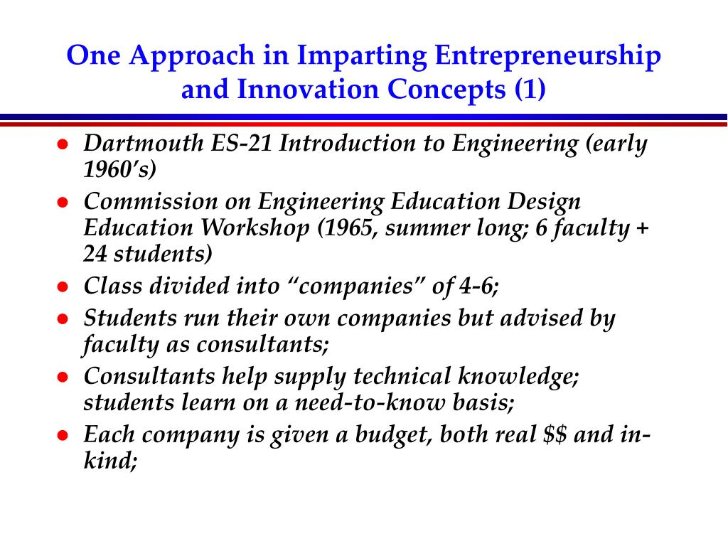 One Approach in Imparting Entrepreneurship and Innovation Concepts (1)