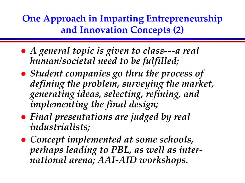 One Approach in Imparting Entrepreneurship and Innovation Concepts (2)
