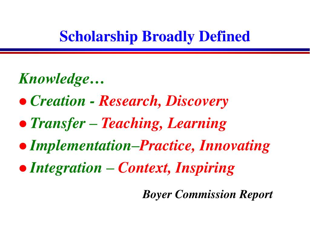 Scholarship Broadly Defined