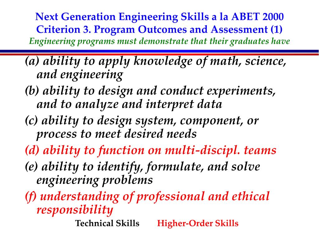 Next Generation Engineering Skills a la ABET 2000