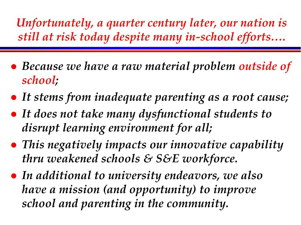 Unfortunately, a quarter century later, our nation is still at risk today despite many in-school efforts….
