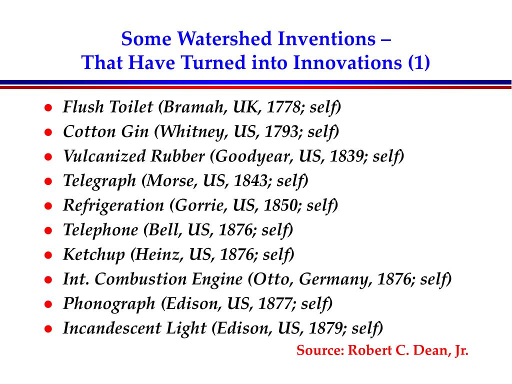 Some Watershed Inventions –