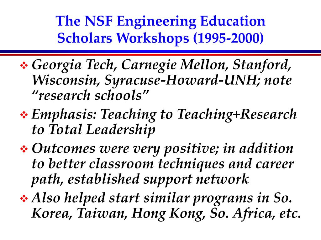The NSF Engineering Education Scholars Workshops (1995-2000)