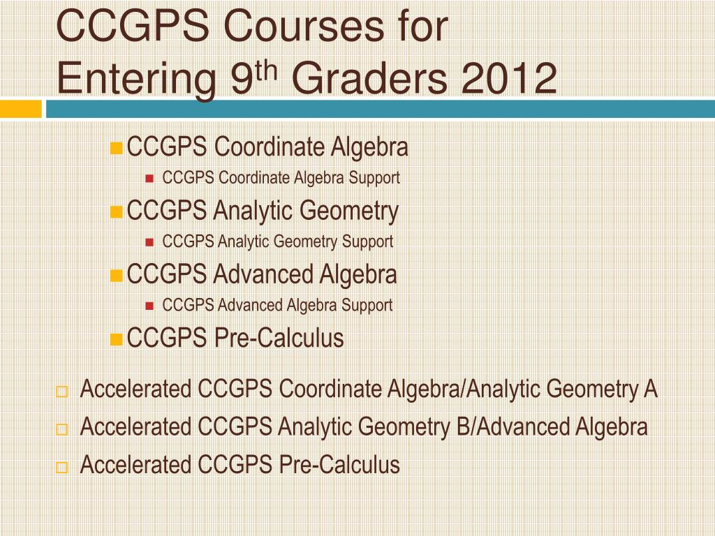 CCGPS Courses for