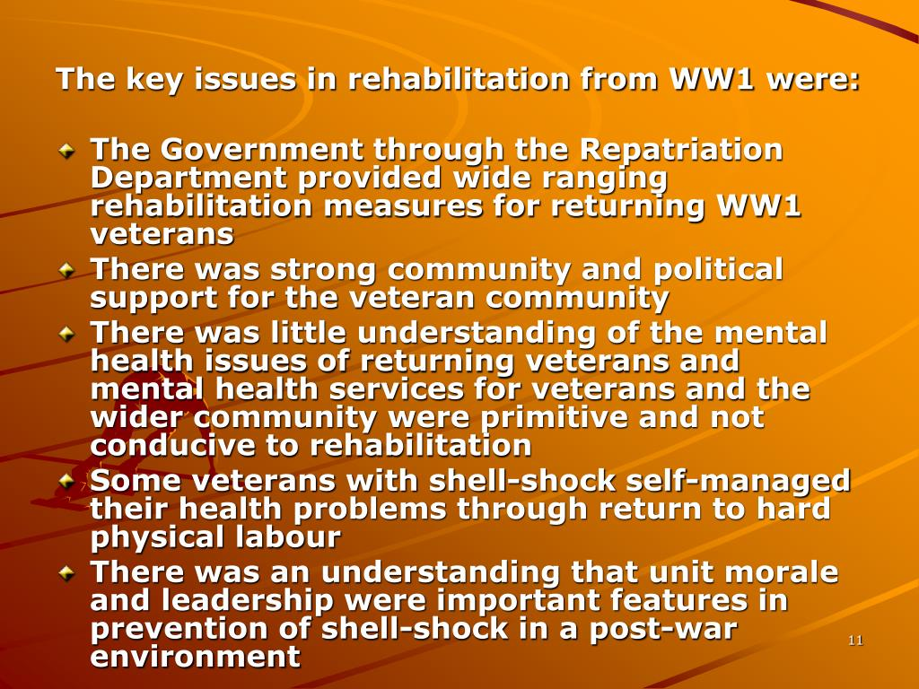 The key issues in rehabilitation from WW1 were: