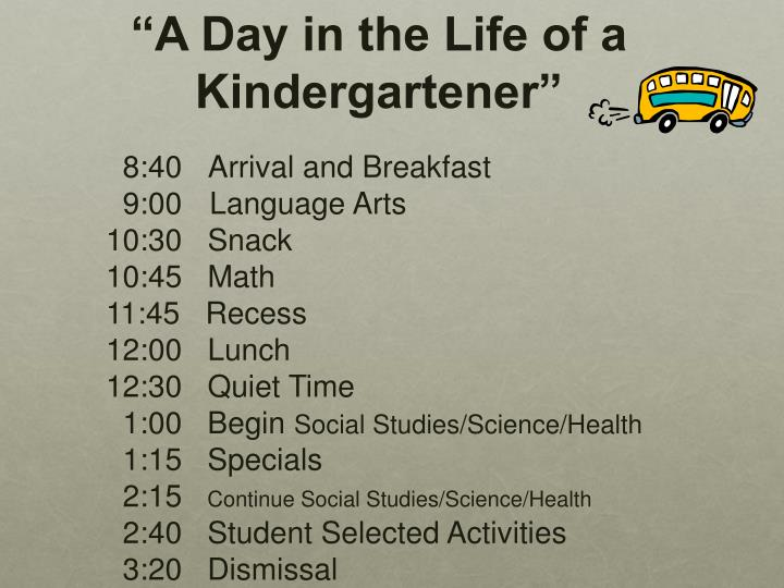 """A Day in the Life of a Kindergartener"""