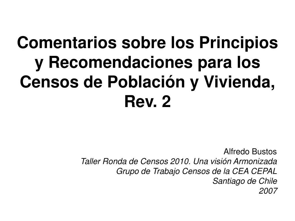 comentarios sobre los principios y recomendaciones para los censos de poblaci n y vivienda rev 2