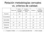 relaci n metodolog as censales vs criterios de calidad