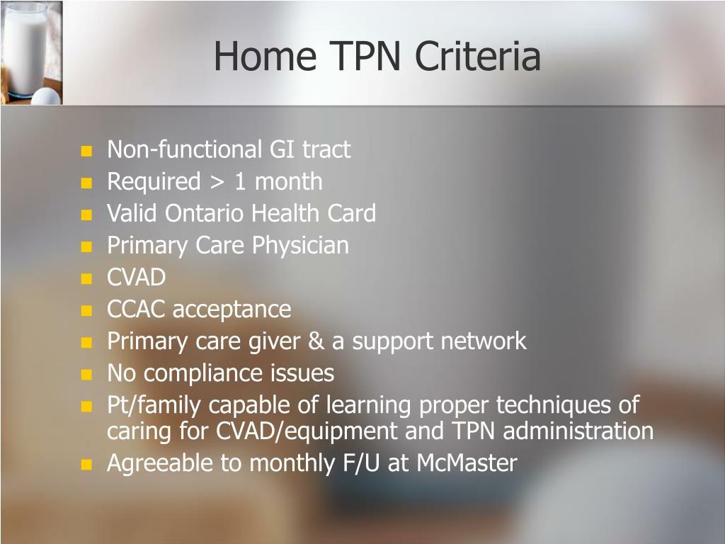 Home TPN Criteria