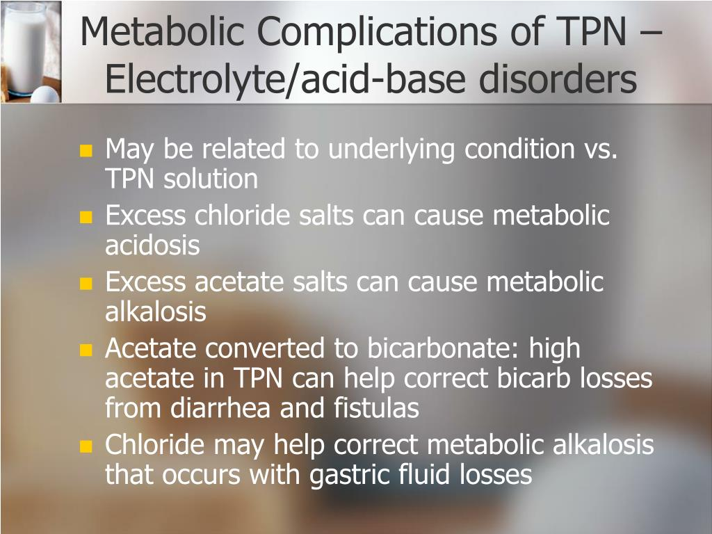 Metabolic Complications of TPN –