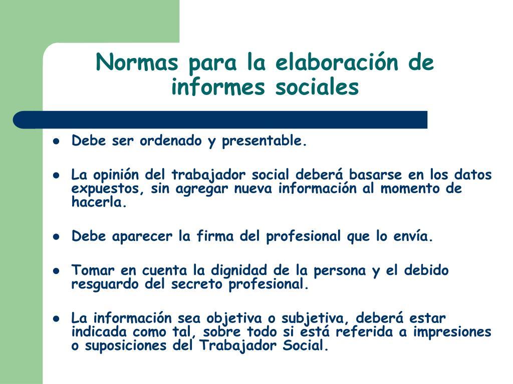 Normas para la elaboración de informes sociales