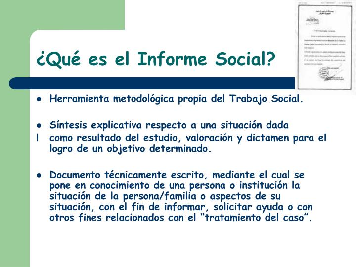 Qu es el informe social