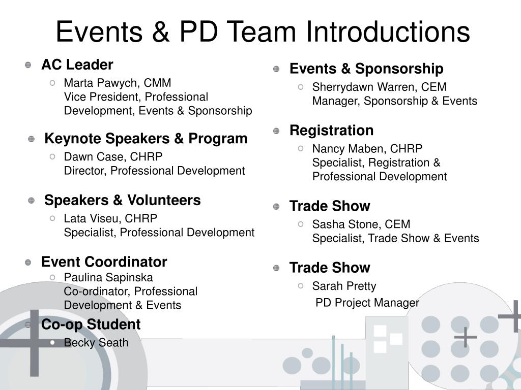 Events & PD Team Introductions
