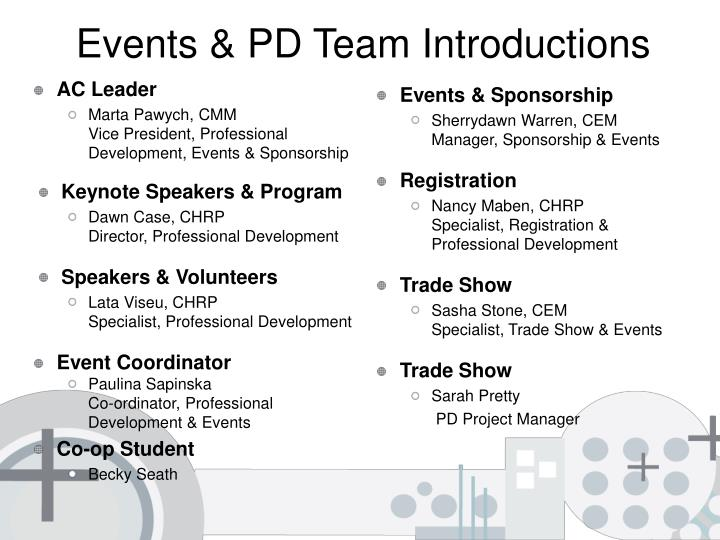 Events pd team introductions