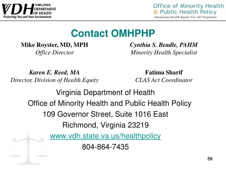 Contact OMHPHP
