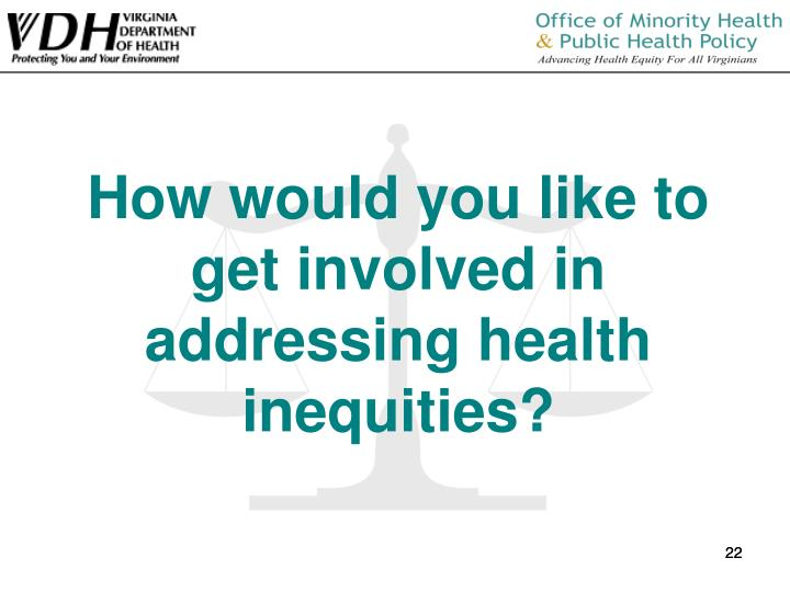 How would you like to get involved in addressing health inequities?