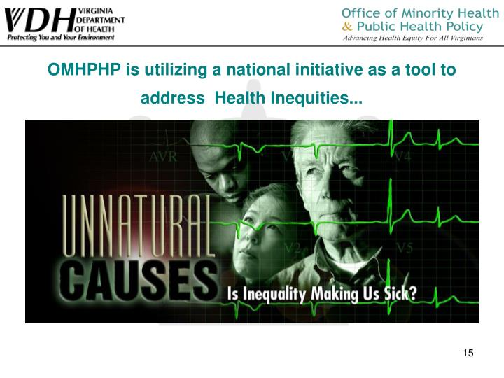 OMHPHP is utilizing a national initiative as a tool to address  Health Inequities...