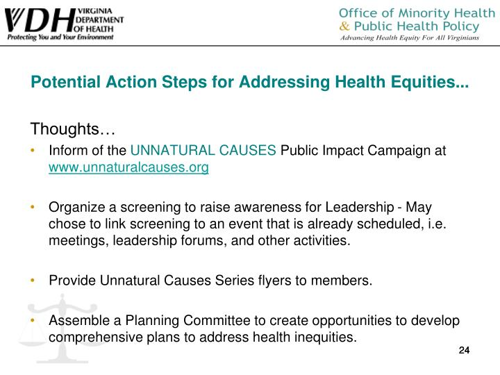 Potential Action Steps for Addressing Health Equities...
