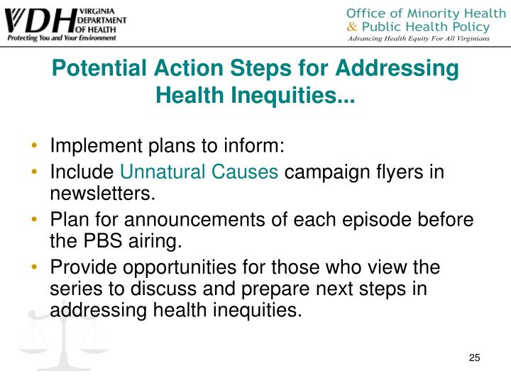 Potential Action Steps for Addressing Health Inequities...