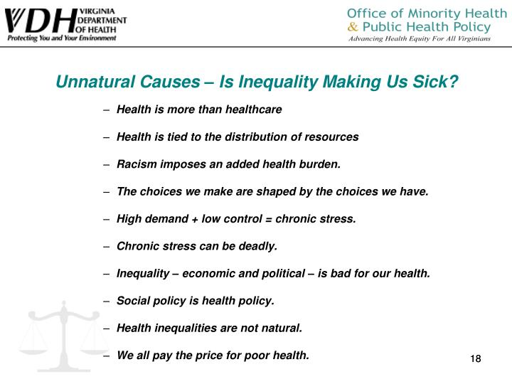 Unnatural Causes – Is Inequality Making Us Sick?