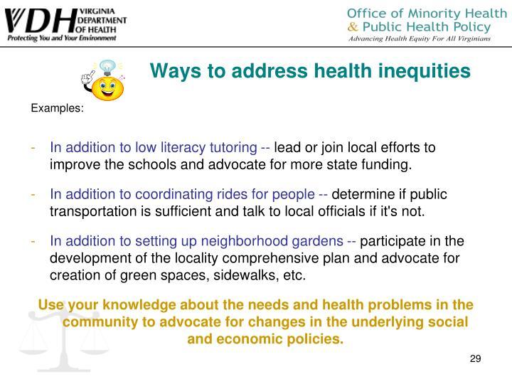 Ways to address health inequities