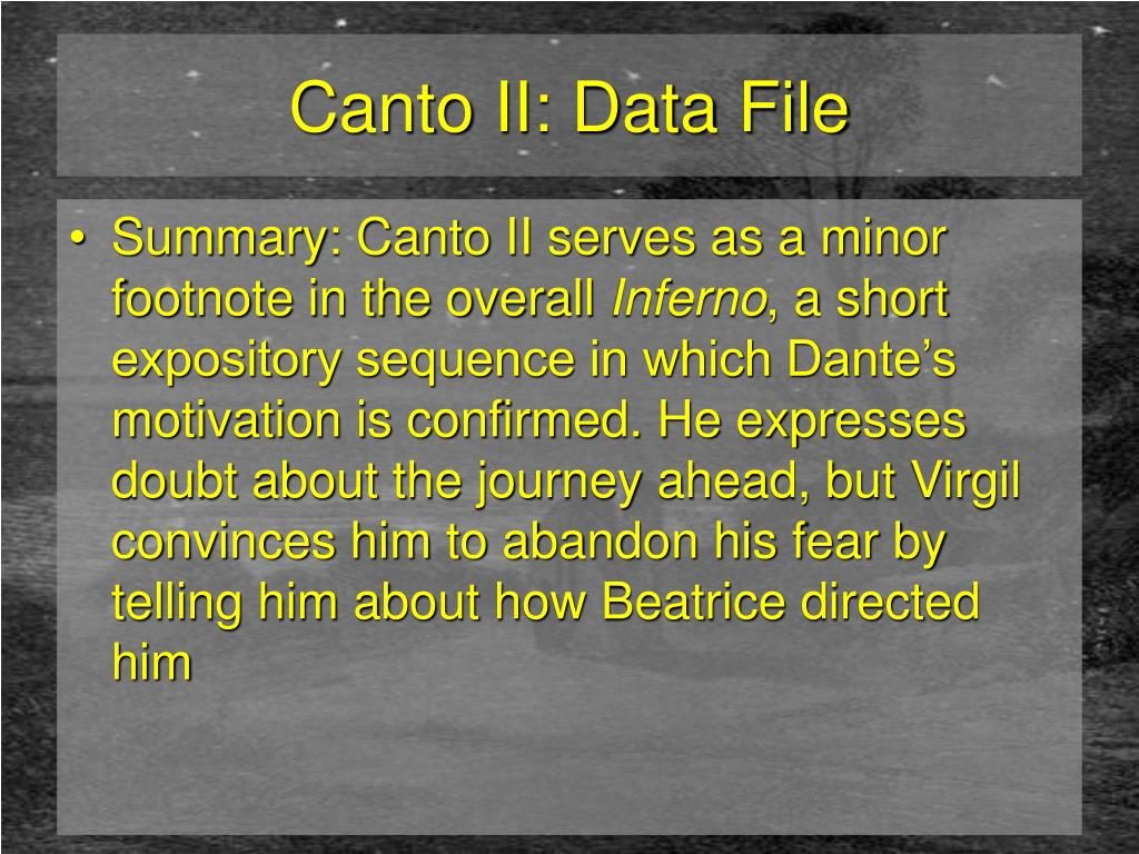 Canto II: Data File
