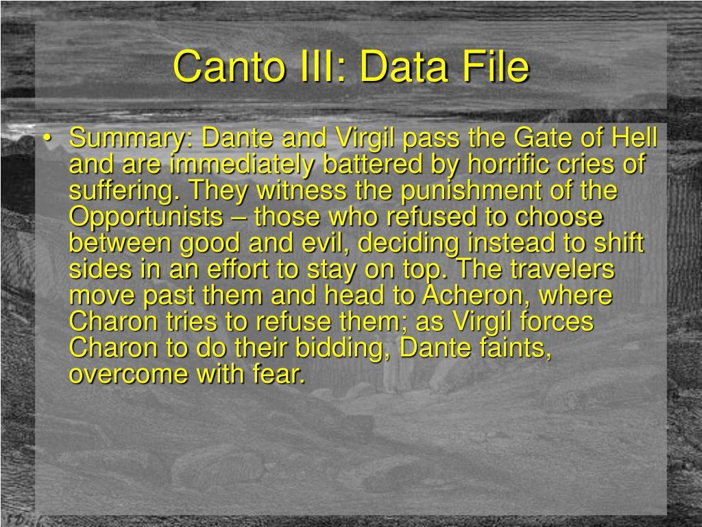 Canto III: Data File
