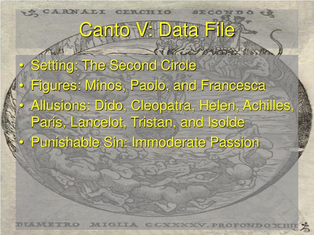 Canto V: Data File