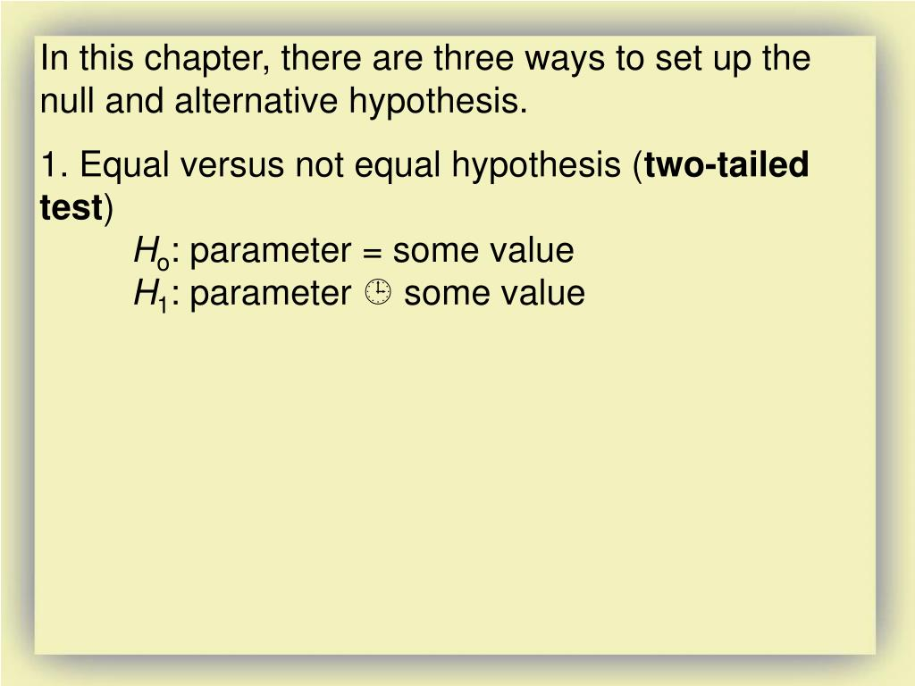 In this chapter, there are three ways to set up the null and alternative hypothesis.