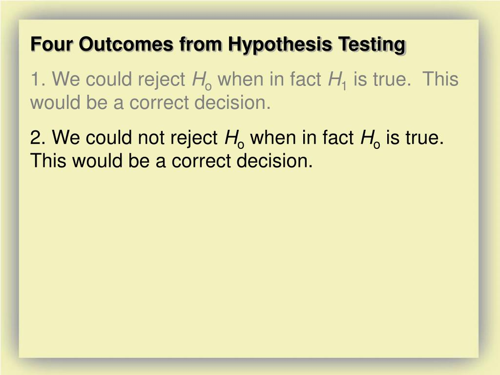 Four Outcomes from Hypothesis Testing