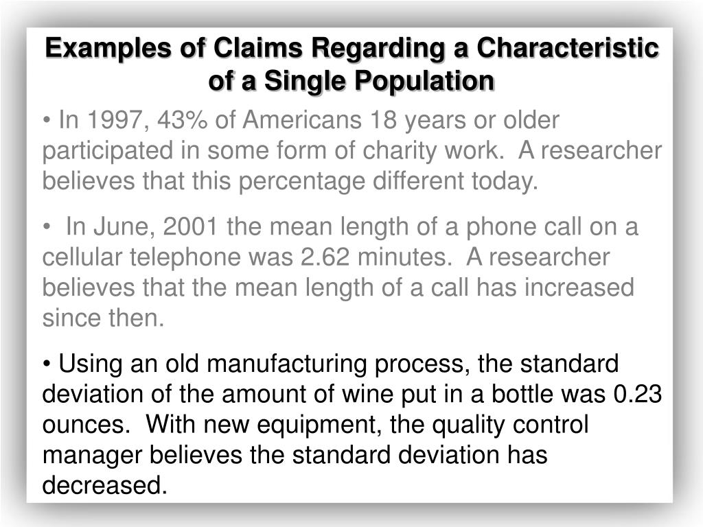 Examples of Claims Regarding a Characteristic of a Single Population