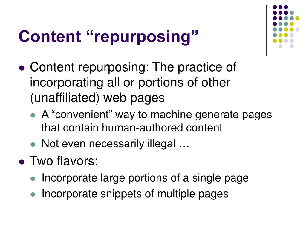 """Content """"repurposing"""""""