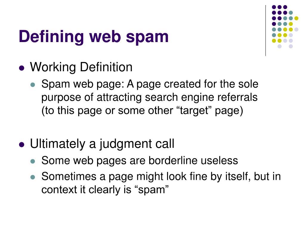 Defining web spam