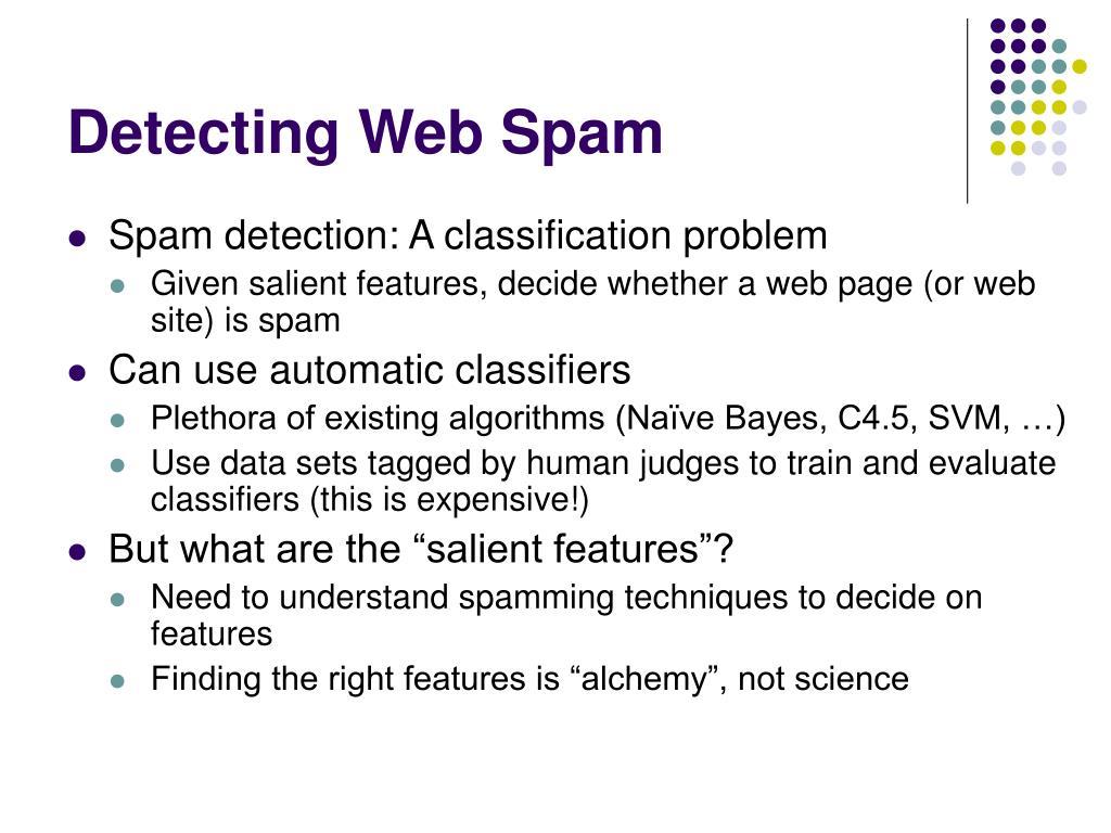 Detecting Web Spam