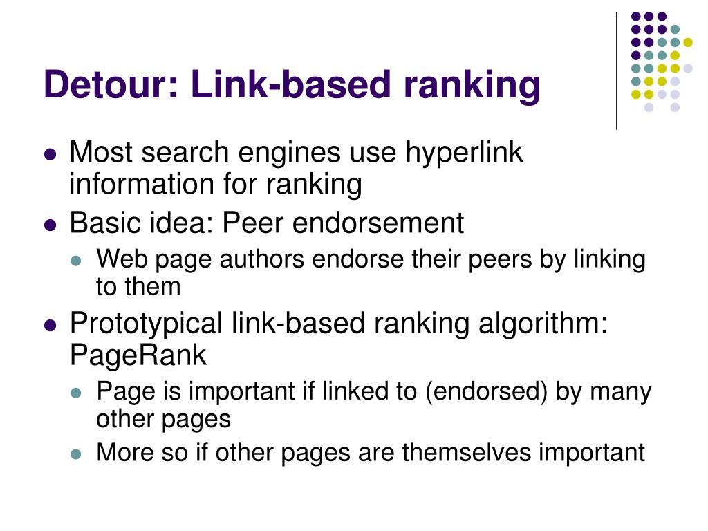Detour: Link-based ranking