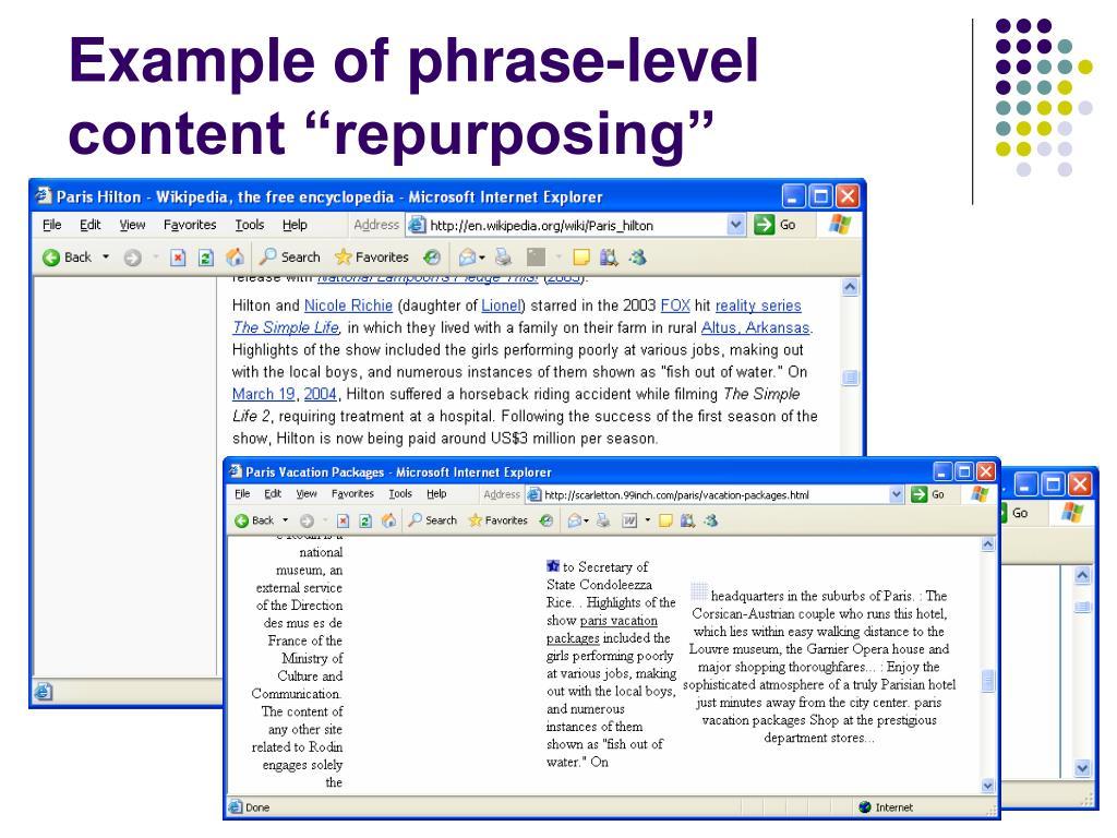 """Example of phrase-level content """"repurposing"""""""