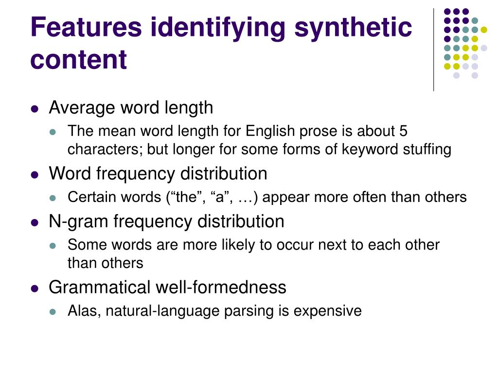 Features identifying synthetic content
