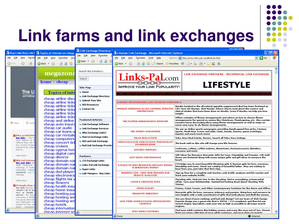 Link farms and link exchanges