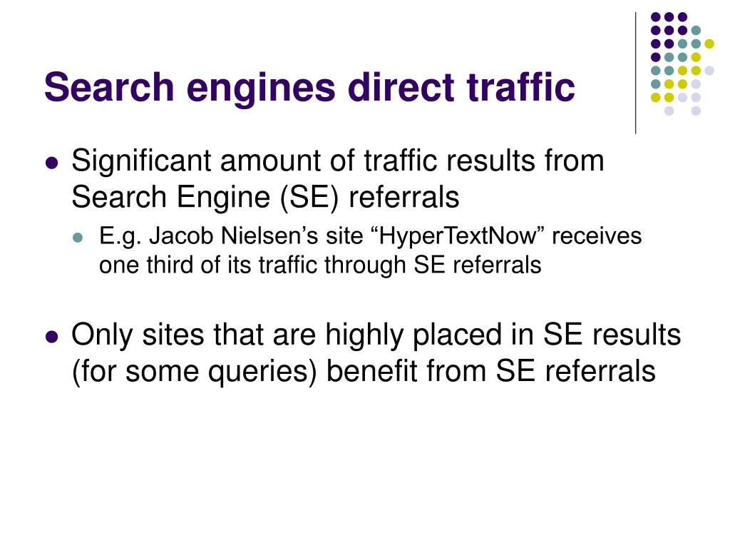 Search engines direct traffic