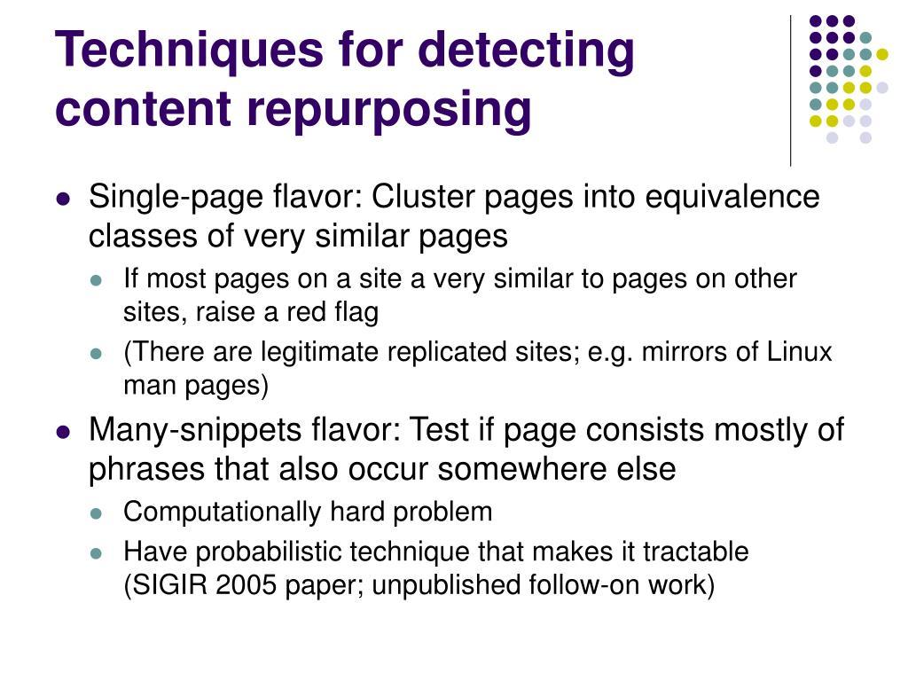 Techniques for detecting content repurposing