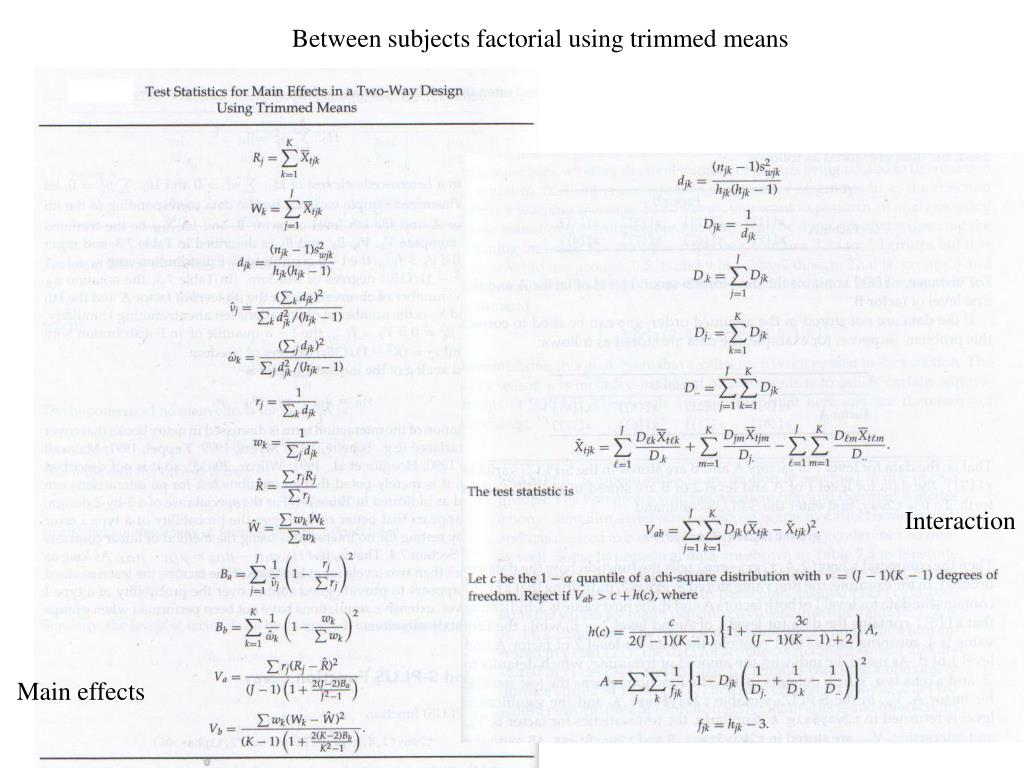 Between subjects factorial using trimmed means