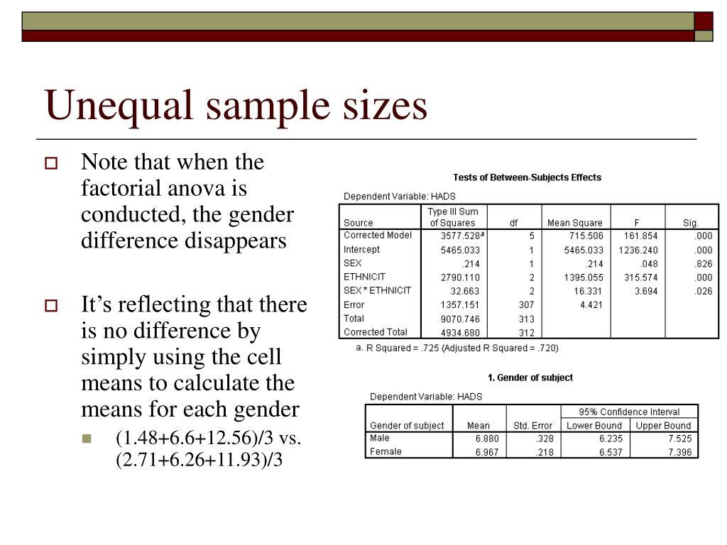 Unequal sample sizes