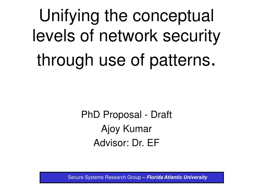 unifying the conceptual levels of network security through use of patterns l.