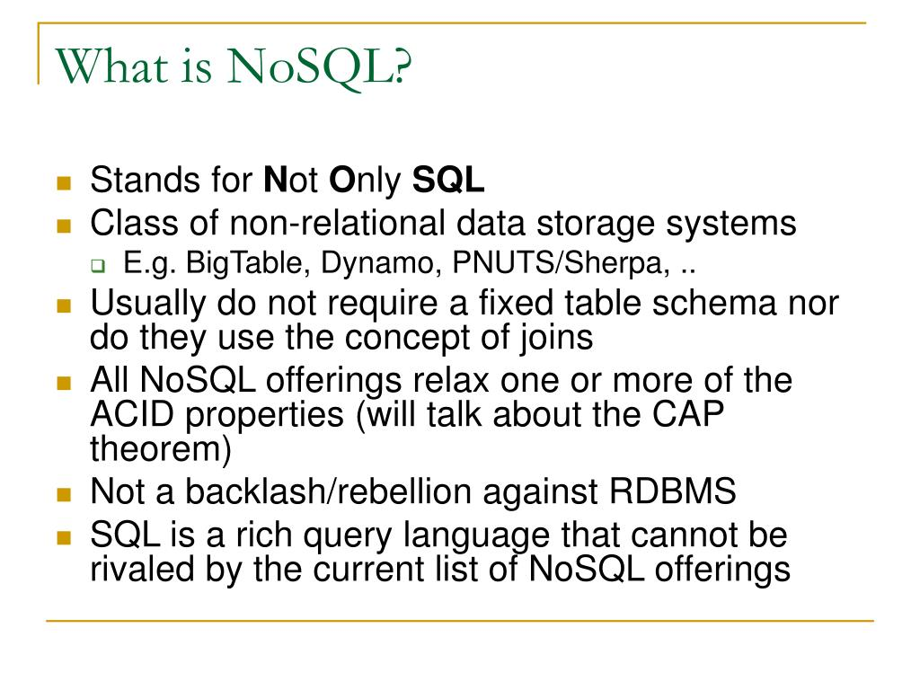 What is NoSQL?