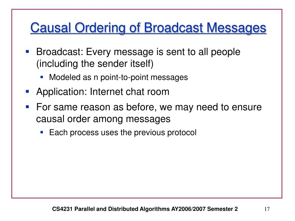 Causal Ordering of Broadcast Messages